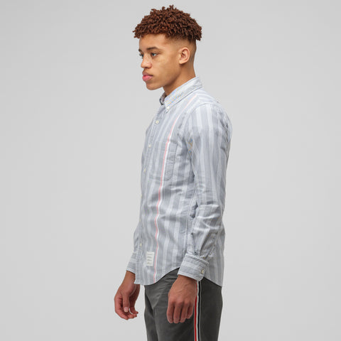 Thom Browne Long Sleeve Button Down Oxford Shirt in Navy/White - Notre