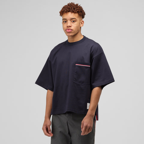 Thom Browne Oversized SS Pocket Tee in Navy - Notre