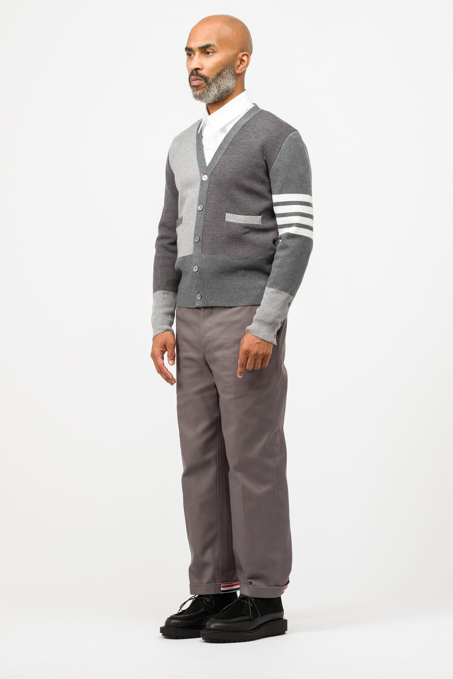 Thom Browne Panel V Neck Cardigan in Grey - Notre
