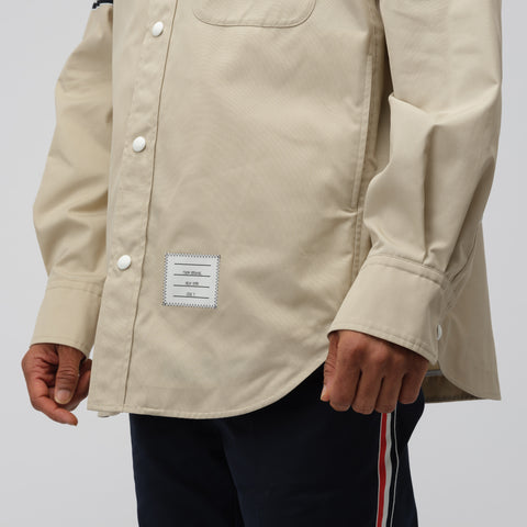 Thom Browne Snap Front Shirt Jacket in Khaki - Notre