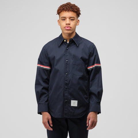 Thom Browne Snap Front Shirt Jacket in Navy - Notre