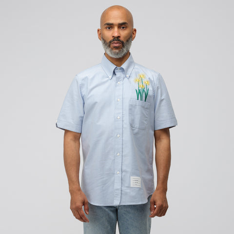Thom Browne Button Down Shirt in Indigo/Chrysanthemum - Notre