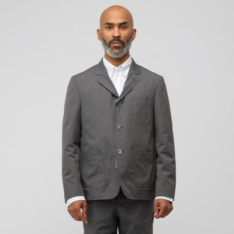 Thom Browne Unconstructed Patch Pocket Sport Coat in Medium Grey - Notre