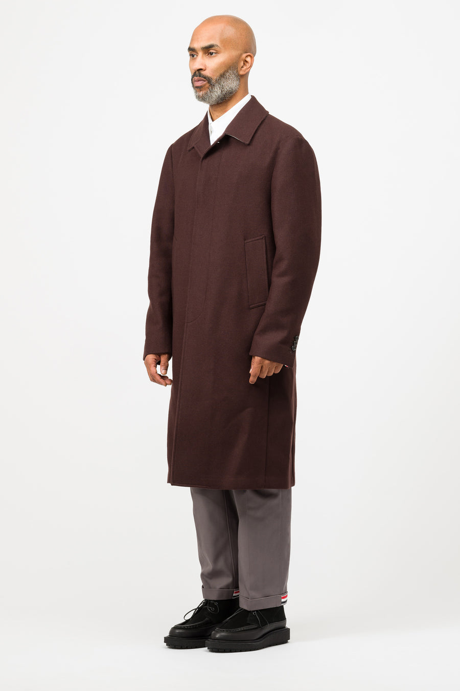 Thom Browne Unconstructed Relaxed Bal Collar Coat in Burgundy - Notre