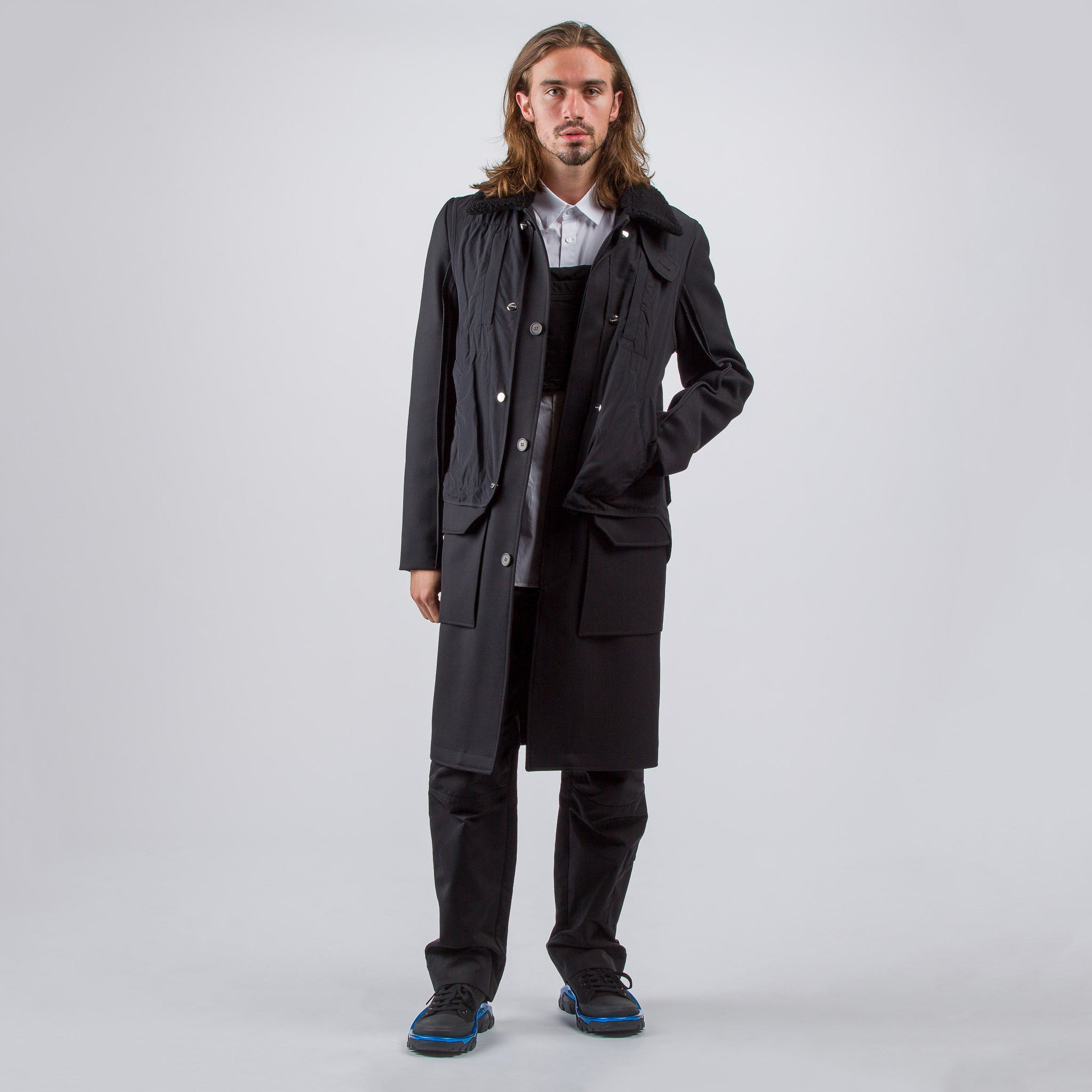 Layered Trench Coat in Black