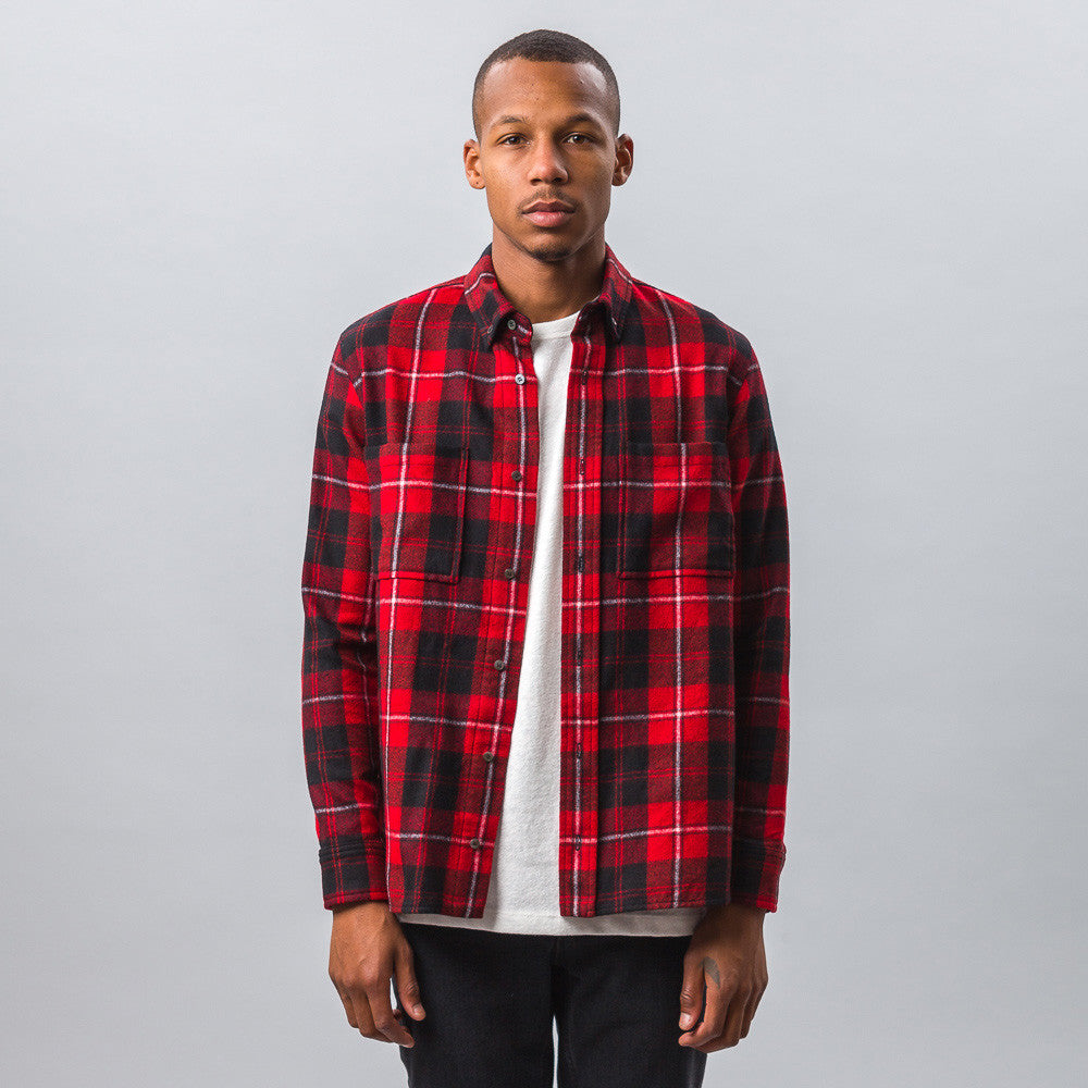 Tim Coppens Worker Shirt in Red Check Model Shot