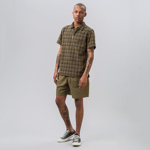 Très Bien Camp Shirt in Brown Check Seersucker - Notre