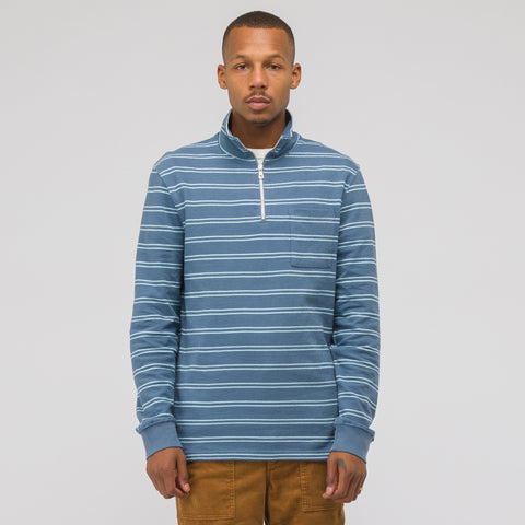 Très Bien Stripe Quarter Zip Sweatshirt in Dusty Blue - Notre