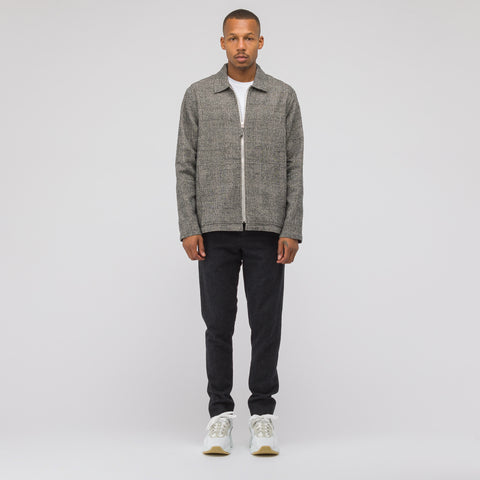 Très Bien Zip-Up Wool Jacket in Light Grey Check - Notre