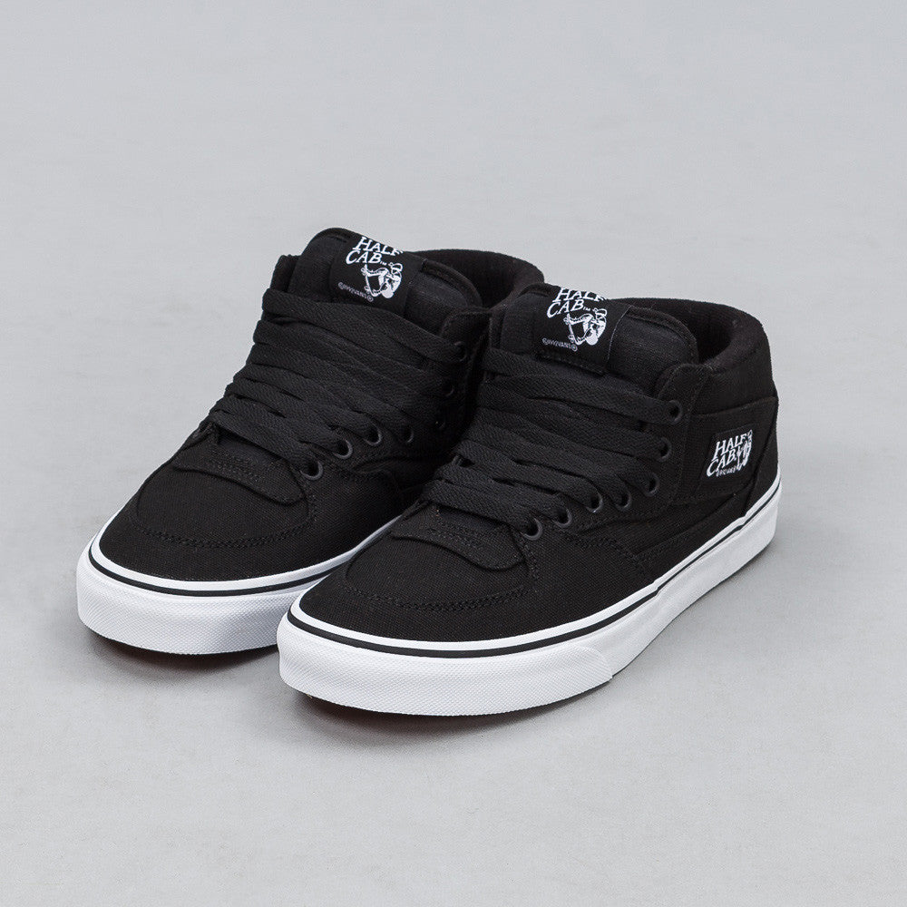 vans half cab black canvas