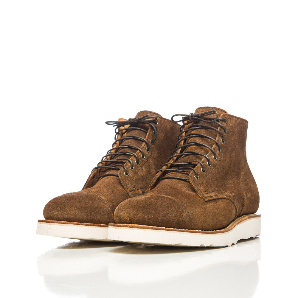 Viberg Service Boot in Snuff Calf Suede Side View