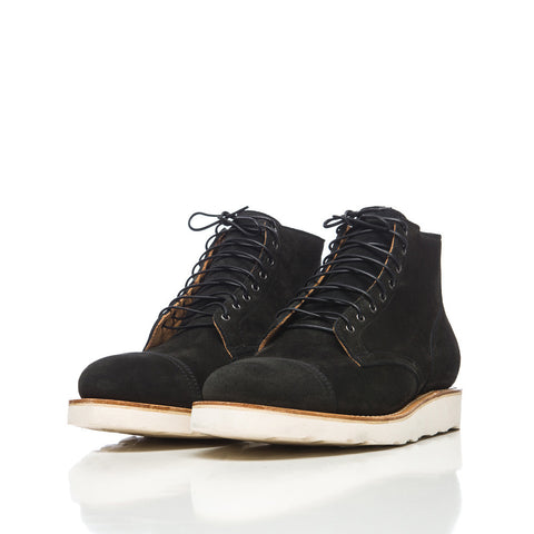 Viberg Service Boot in Black Calf Suede - Notre