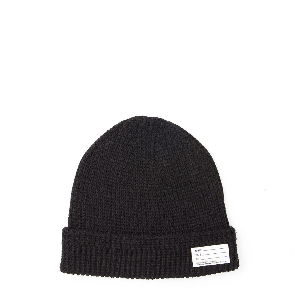 visvim Cotton Knit Beanie in Black Flat Shot