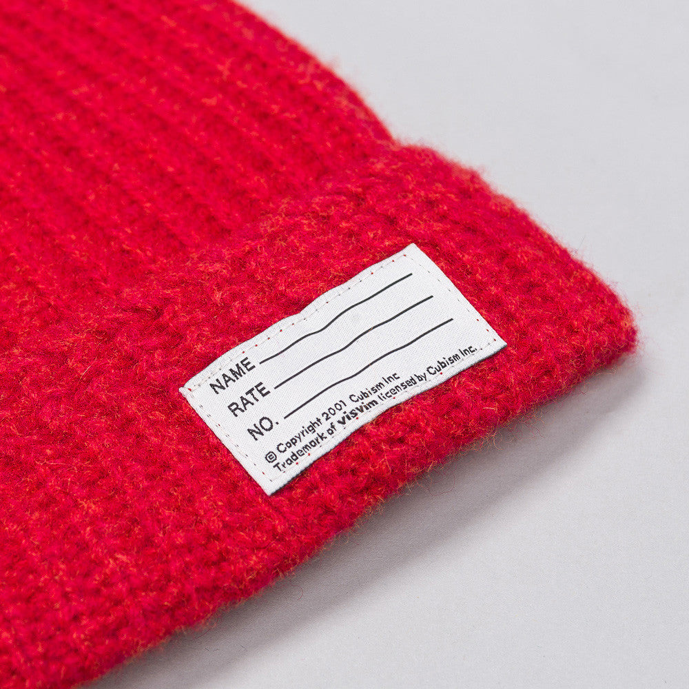 Cotton Knit Beanie in Red