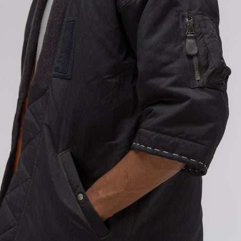 visvim Dotera Coat in Herringbone Charcoal - Notre