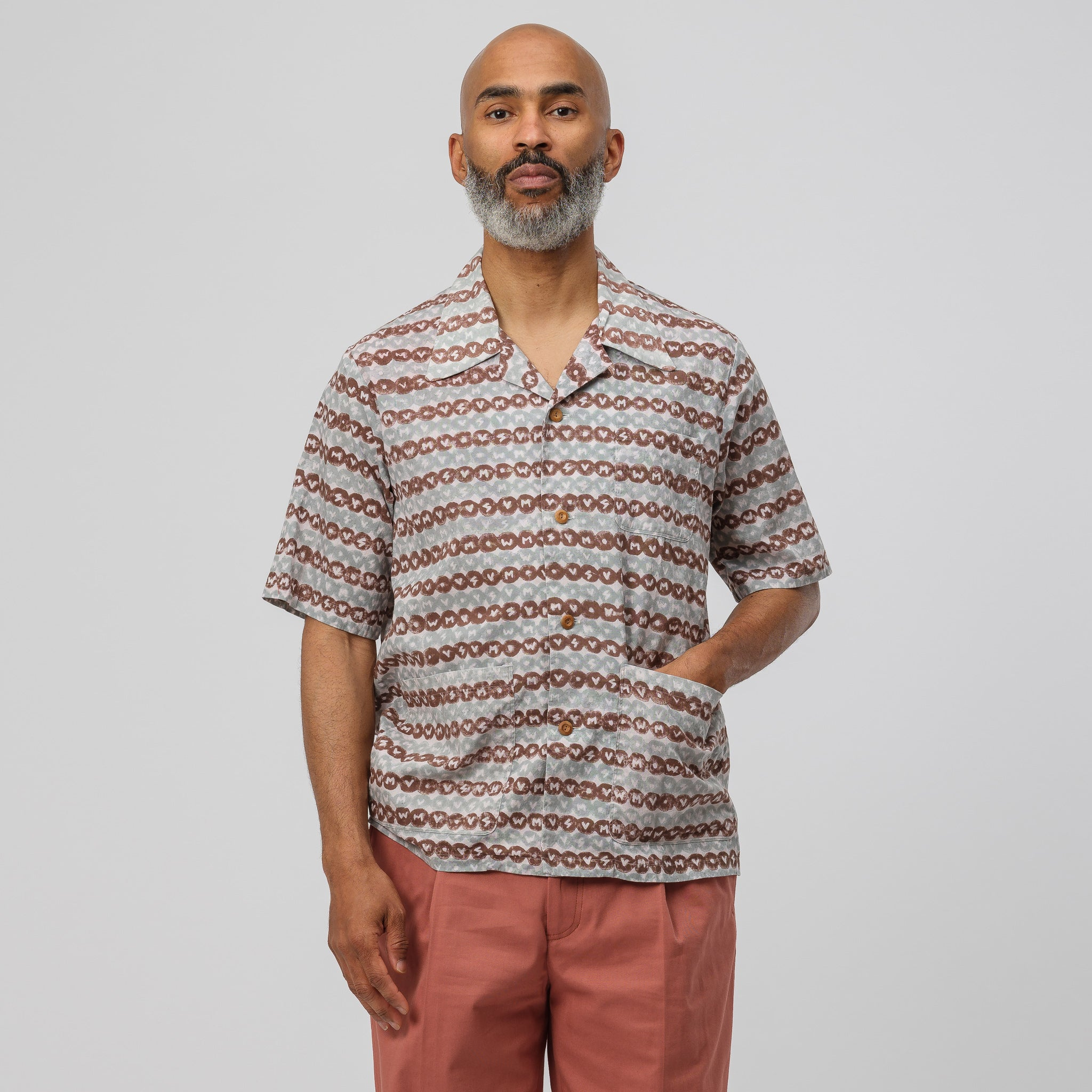 Ellery Short Sleeve Shirt in Brown