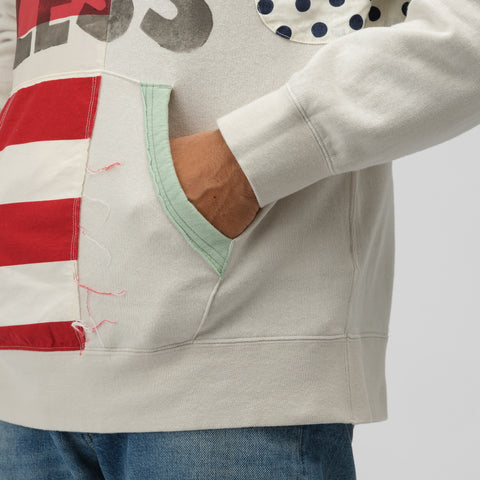 visvim Jumbo Hoodie P.O. Collage in Off White - Notre