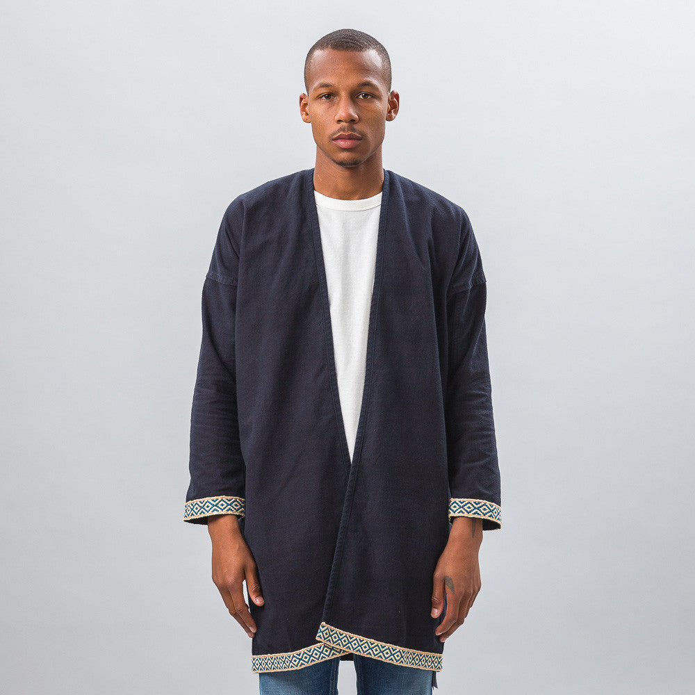 visvim Sanjuro Coat Silk Road in Dark Indigo Model Shot