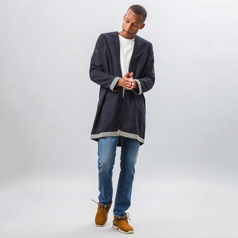 visvim Sanjuro Coat Silk Road in Indigo - Notre