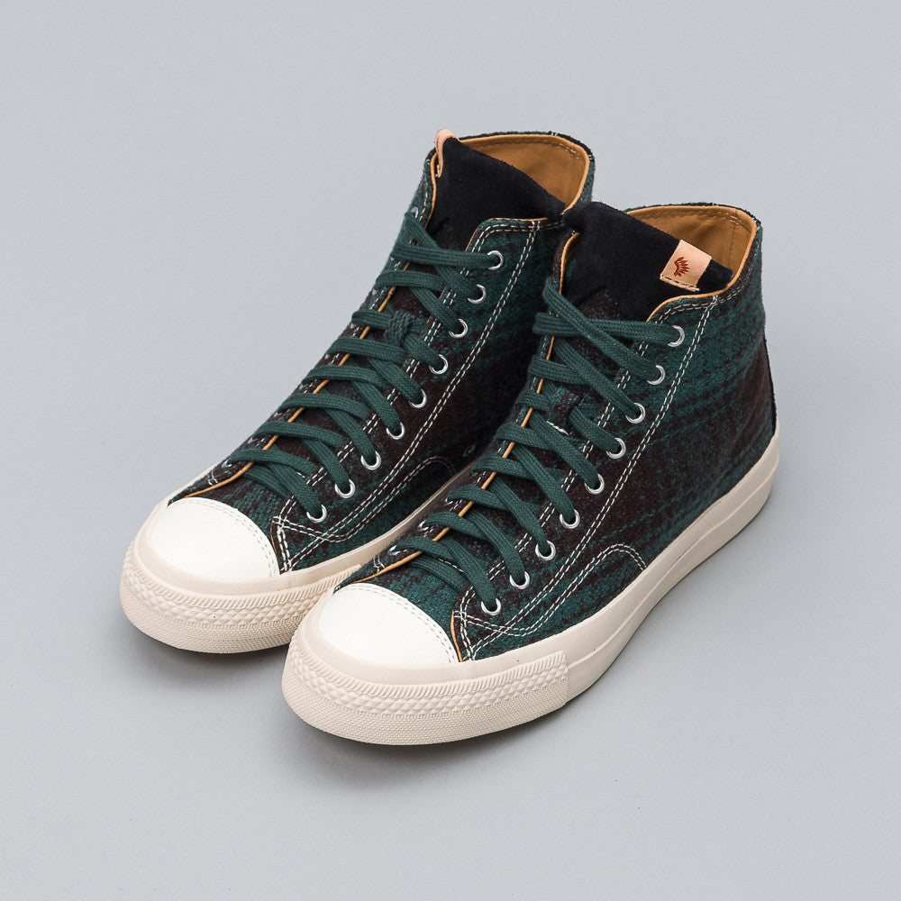 visvim Skagway Hi Buffalo Check in Green Side View