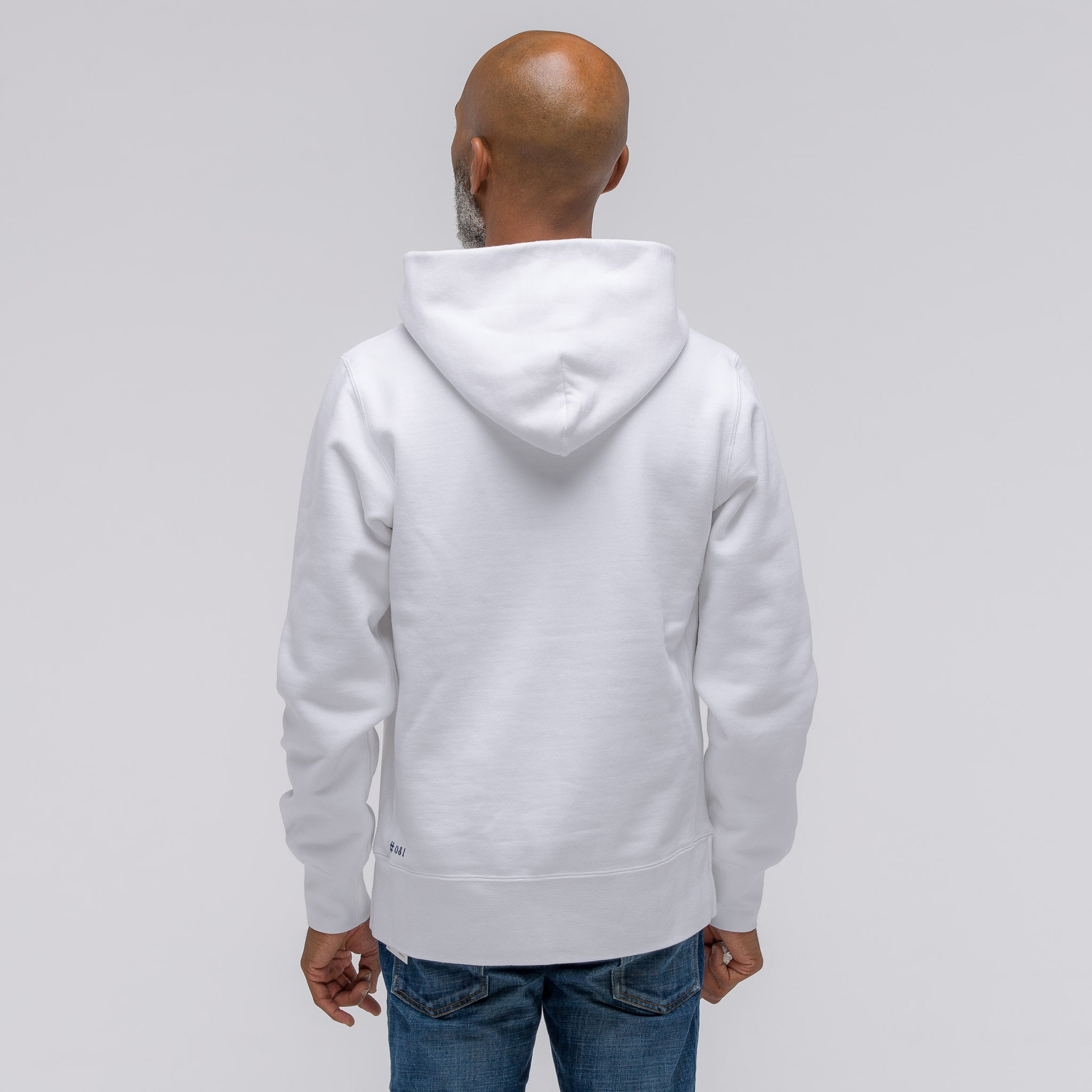 Stencil Pullover Hoodie (Battery) in White