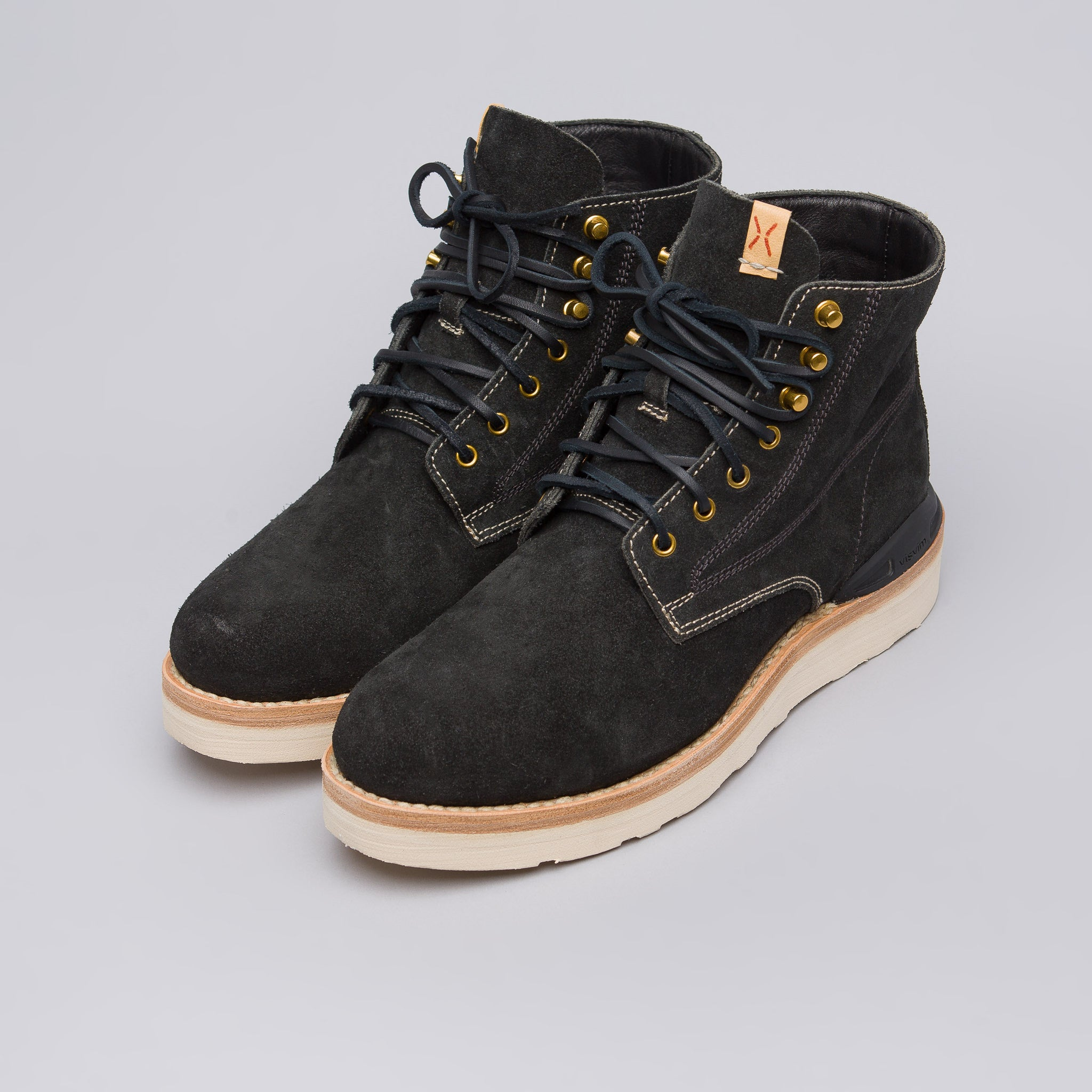 Virgil Boots-Folk in Black Veg Suede