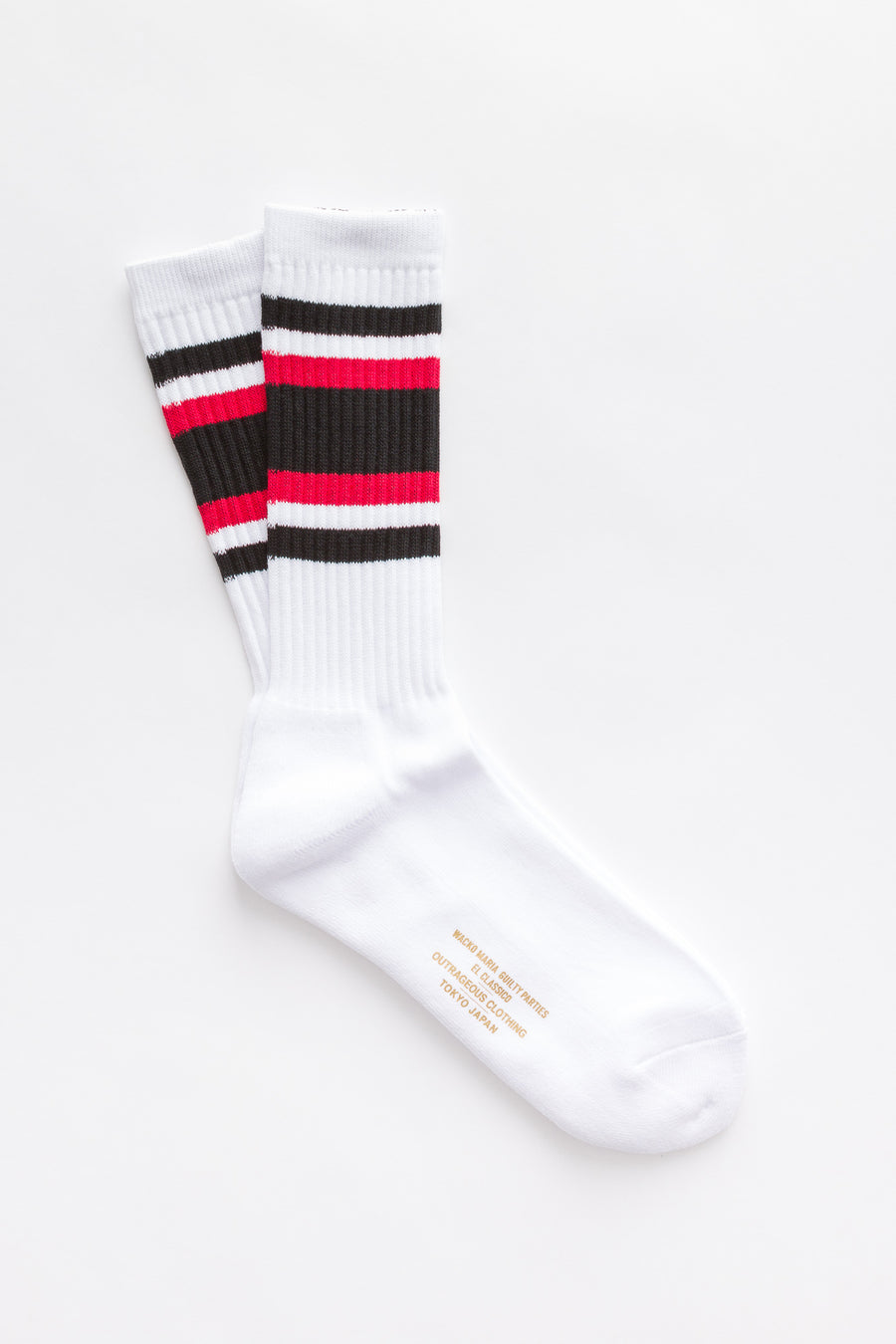 Wacko Maria Skater Socks (Type-1) in White-Red - Notre