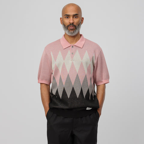 Wacko Maria Knit Polo Shirt in Pink - Notre