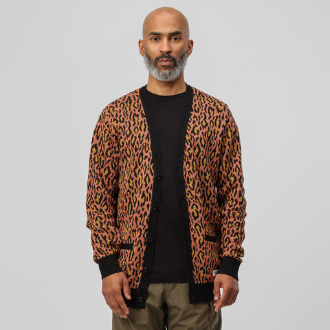 Wacko Maria Leopard Jacquard Cardigan in Orange - Notre