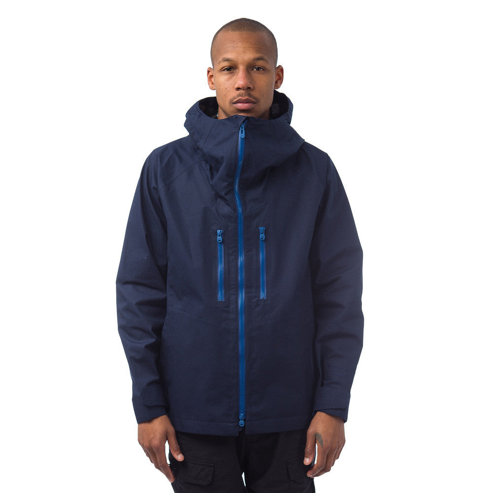 White Mountaineering Gore-Tex Parka in Navy Model Shot
