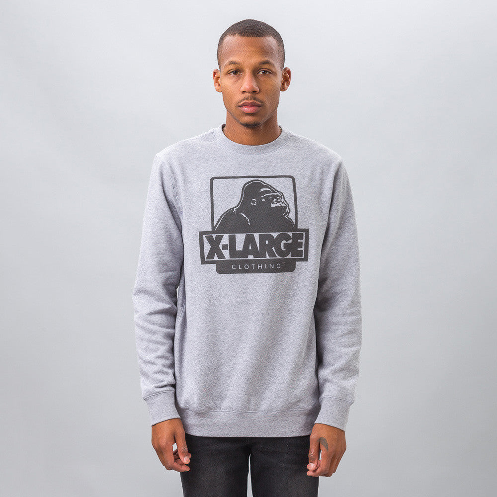 XLarge - OG Logo Fleece Crewneck in Heather Grey - Notre - 1