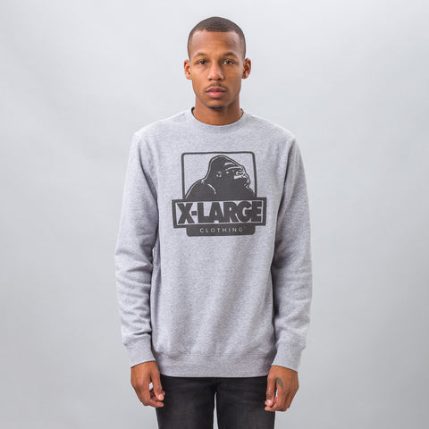 XLarge OG Logo Fleece Crewneck in Heather Grey - Notre