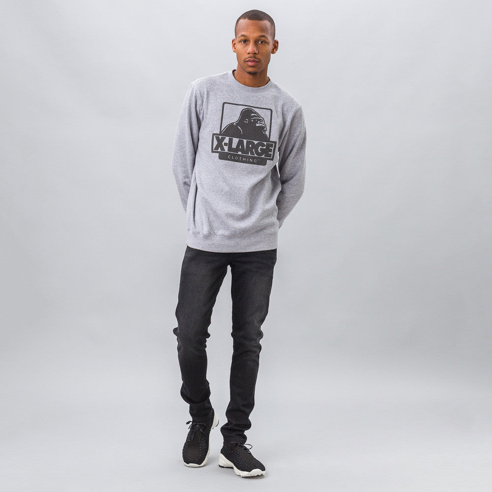 OG Logo Fleece Crewneck in Heather Grey