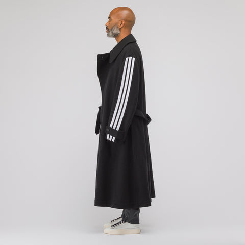 Y-3 Long Wool Coat in Black - Notre