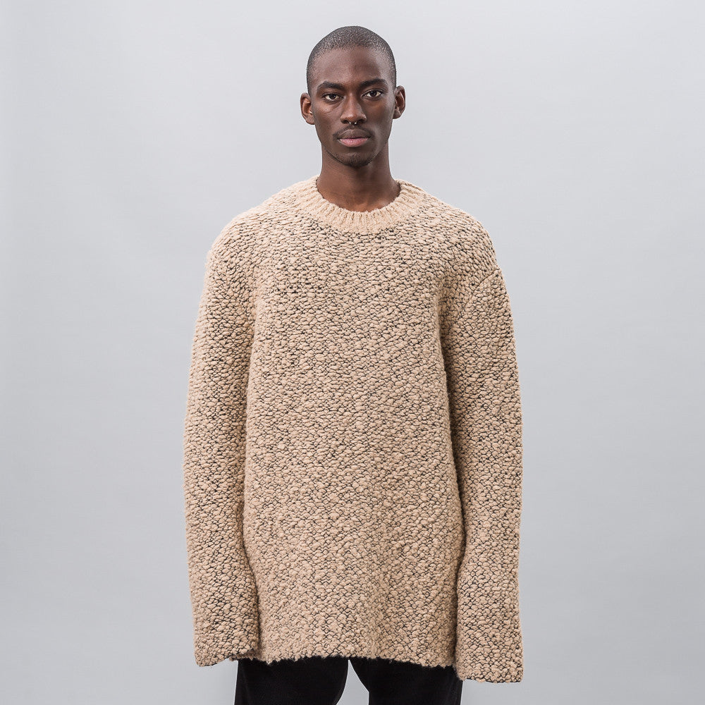 Oversized Teddy Boucle Sweater in Desert Noise