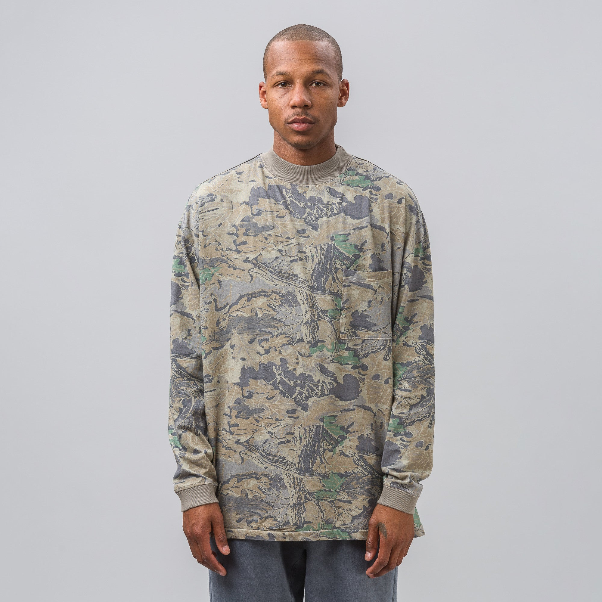 Mock Neck Tee in Faded Camo