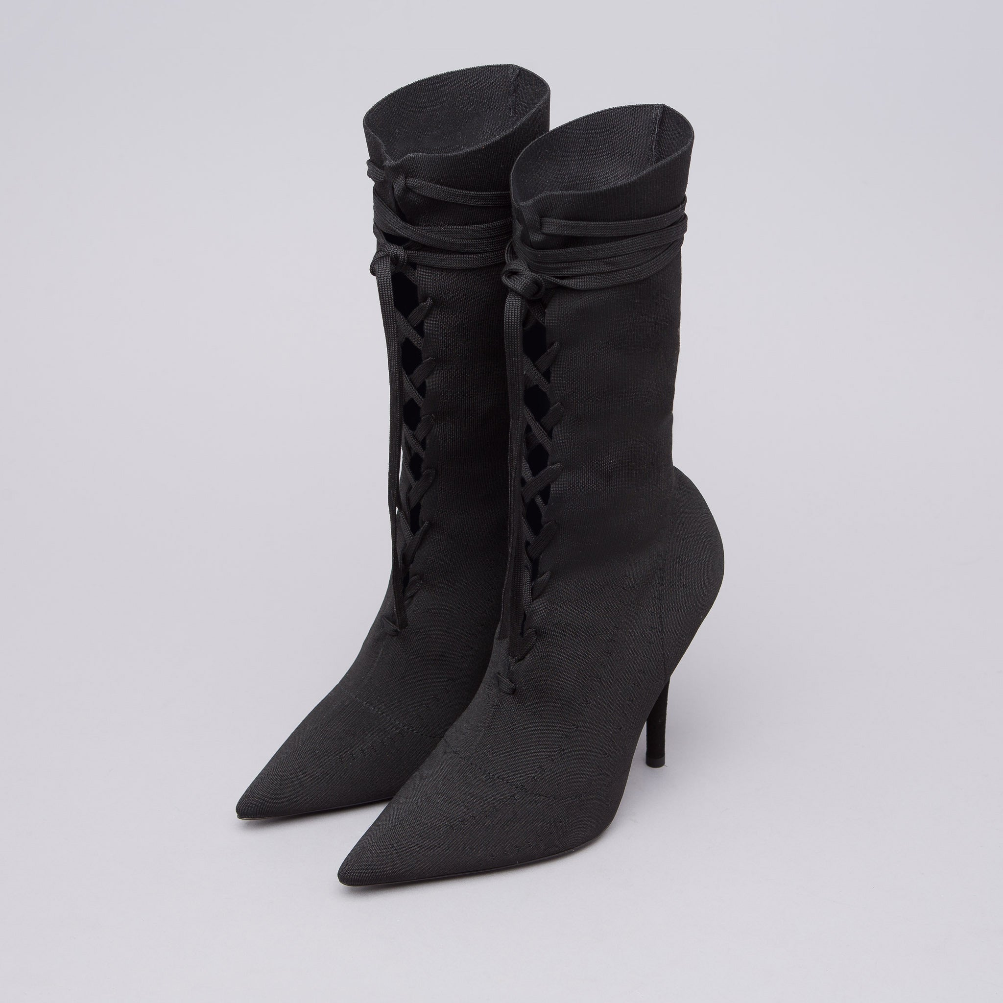 Women's Knit Lace Up Ankle Boot in Black