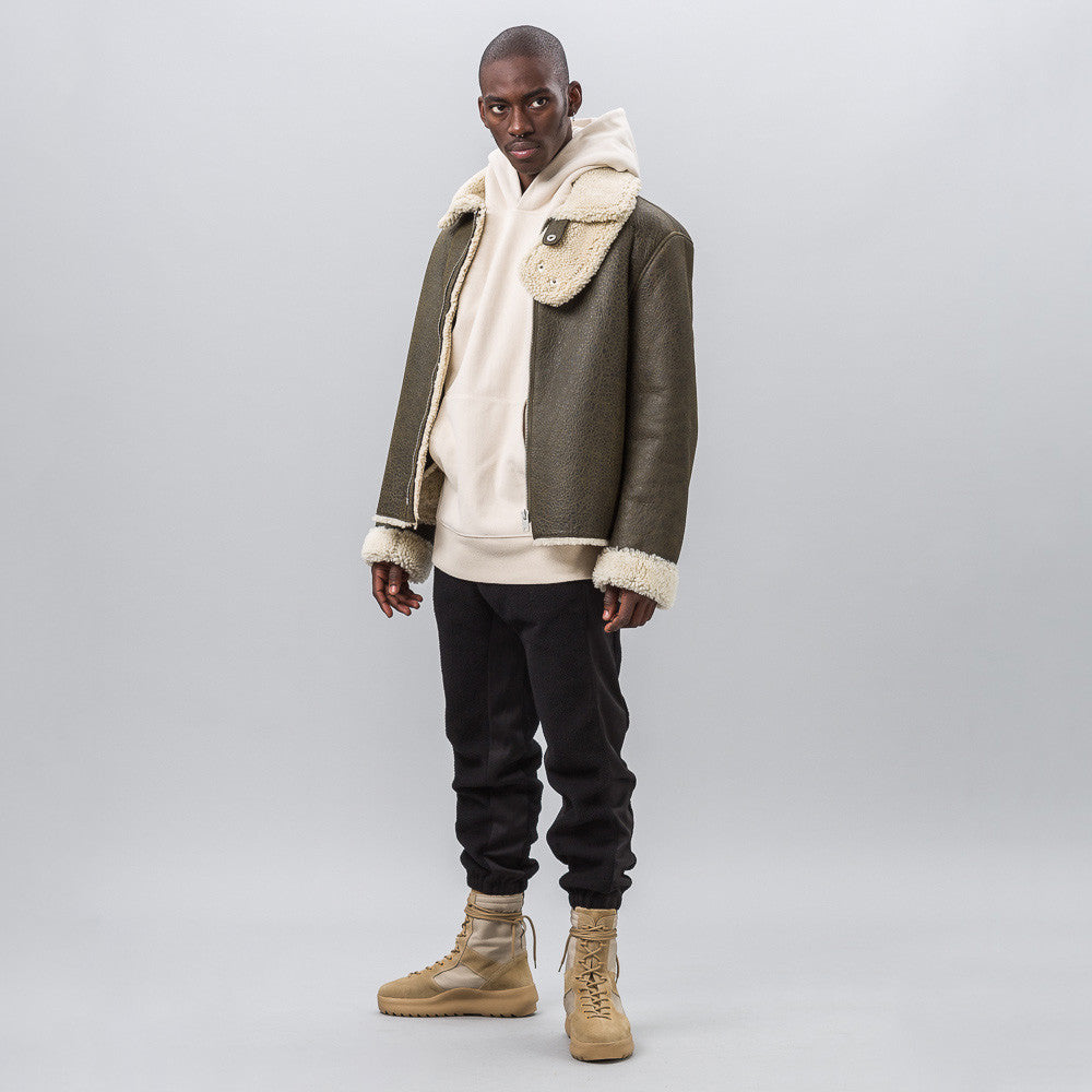 Yeezy Season Three - Two Tone Shearling Coat in Military Dark - Notre - 1