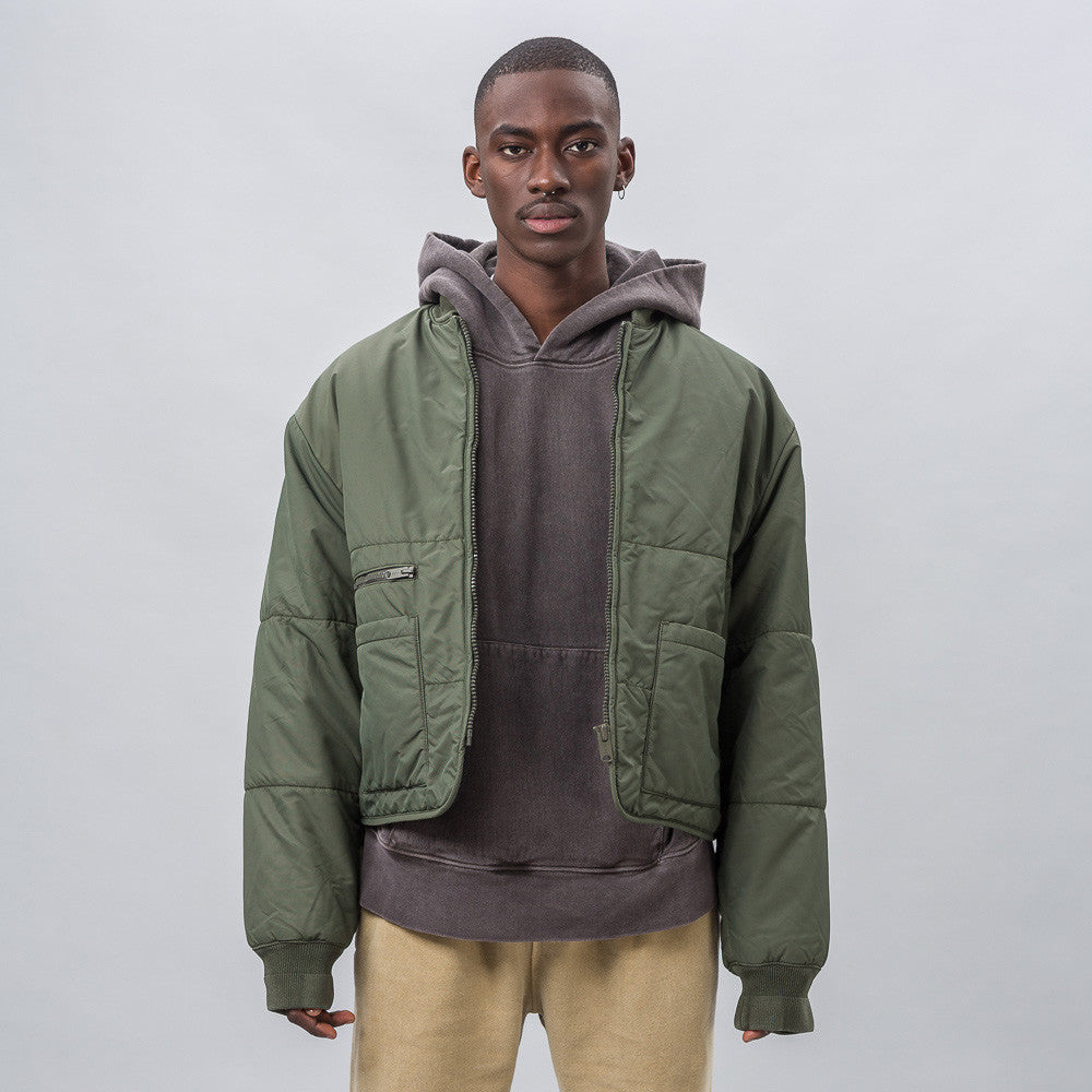 Yeezy Season Three Puffer Bomber in Stone Dark