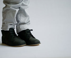 charcoal milo boots, nubuck leather