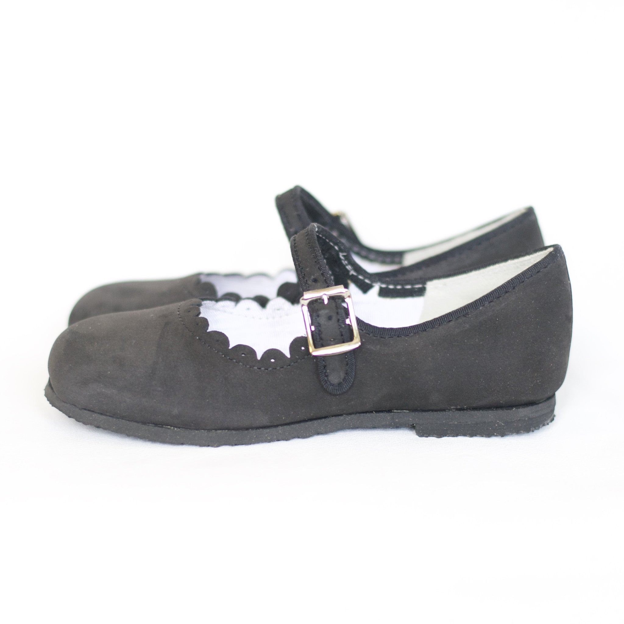 charcoal scalloped mary janes, deep grey nubuck leather