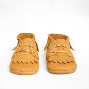tan leather baby moccasin boots
