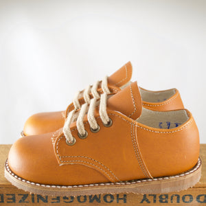 custom made artie saddle shoe in warm brown