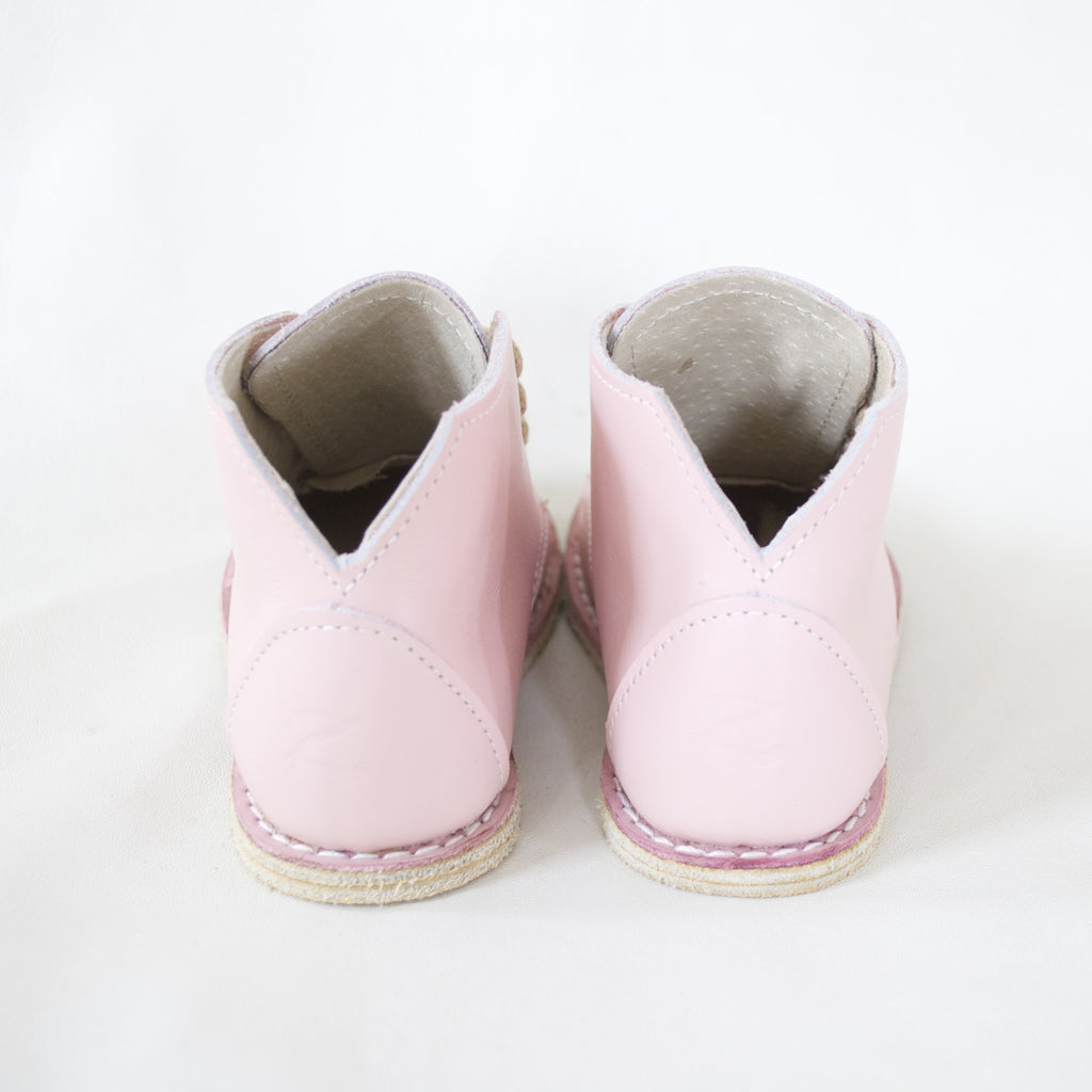 blush pink top grain leather boot
