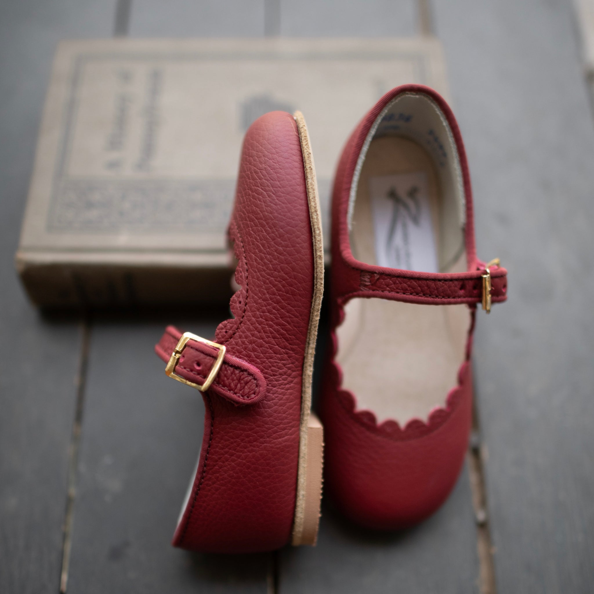 Scalloped Mary Jane in Burgundy | Sizes 4-12