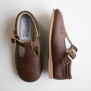Flora T-Strap in Dark Brown | Sizes 5-12