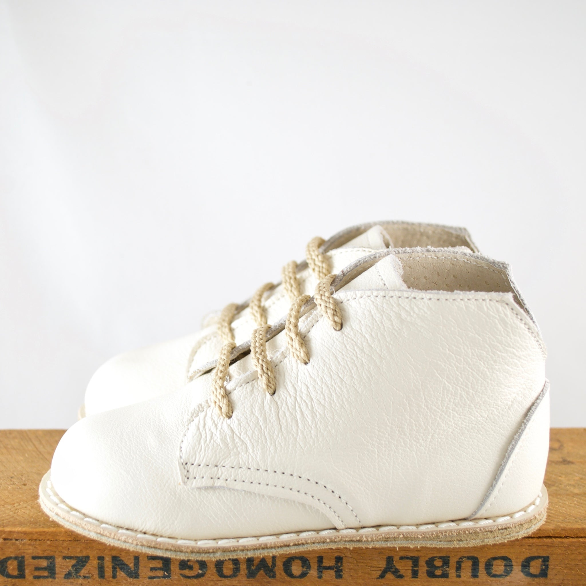 ivory boot, top grain leather