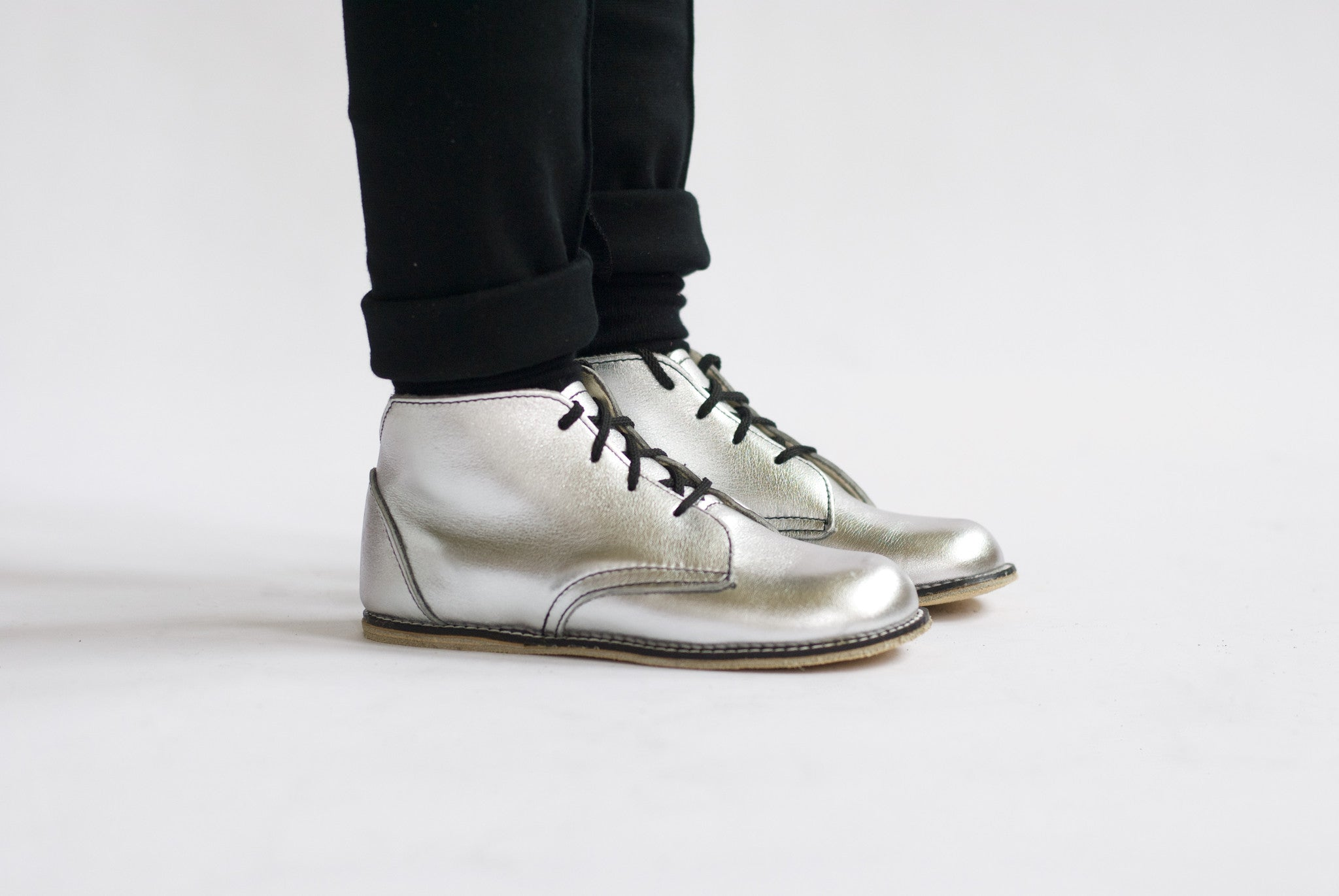 silver milo boots, top grain leather