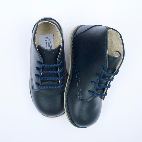 navy blue boot, top grain leather