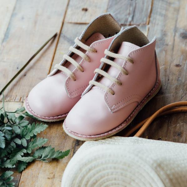 blush pink milo boots, top grain leather